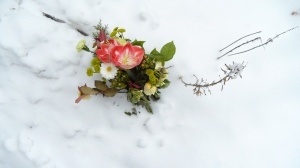 bouquet in snow