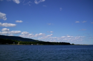 danger: blue sky blue water